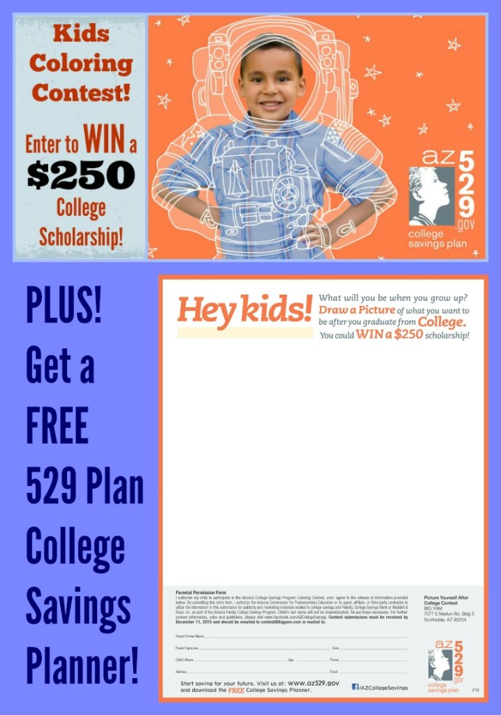 Win a $250 College Scholarship! Picture Yourself After College Coloring Contest for Kids and Free AZ 529 College Savings Planner!