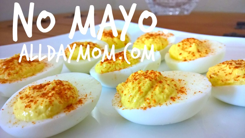 How to make deviled eggs without mayo! Get the recipe at All Day Mom: Spicy Deviled Eggs—No Mayo!