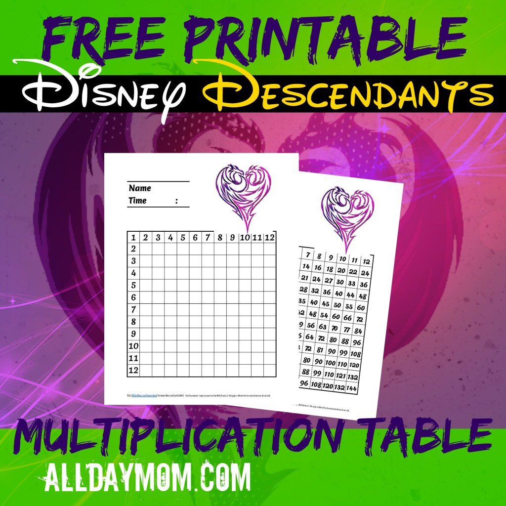 Free printable Disney Descendants multiplication tables! Disney math worksheets at All Day Mom!