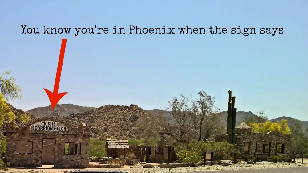 You know you're in Phoenix when the sign says This is Scorpion Gulch! Get a great view of Phoenix you can drive to! Dobbins Lookout at South Mountain Park, Phoenix AZ! Free fun in Phoenix - Things to do with kids in Phoenix - family travel AZ