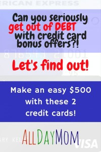 Get Out of Debt with Credit Card Bonus Offers Make an Easy $500 with these 2 Credit Card Offers - You'll earn a minimum of $541 net cash back after the annual fees! Amex Blue Cash Preferred $250 and Southwest Visa 40,000 points!