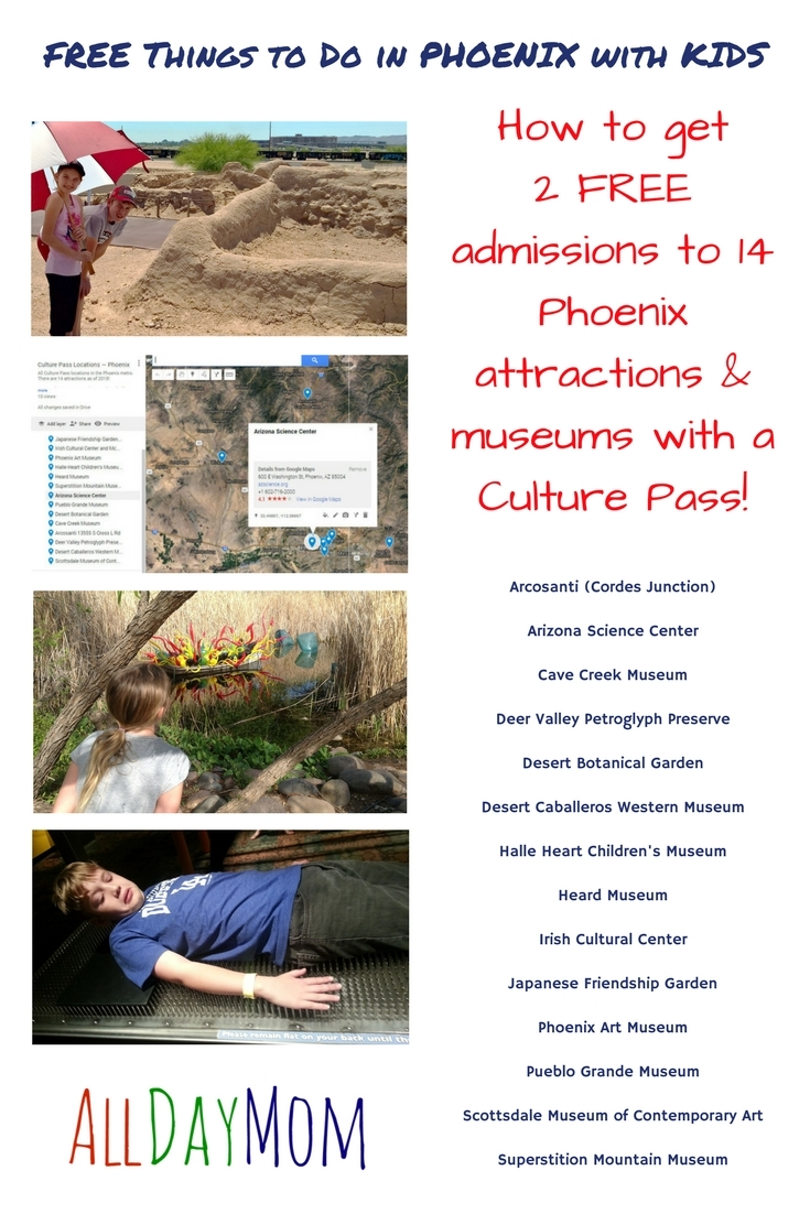 Free things to do in Phoenix with kids! Culture Pass is a free program offering two free admissions to 14 Phoenix attractions and museums!