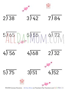Free Printable Valentine's Day Math Worksheets! Long Division – No Remainders – 2 Digit Answers