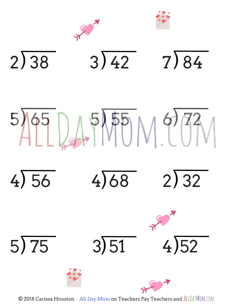 Free printable Valentine\'s Day math worksheets!