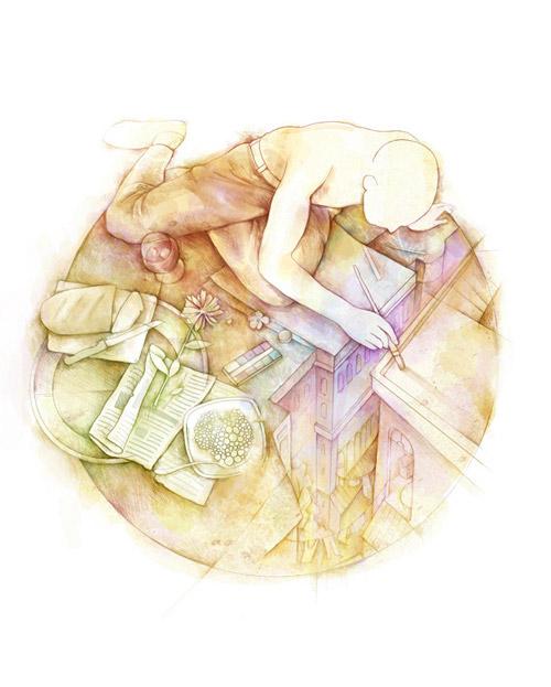 Иллюстрации Алексея Курбатова. Очень техничная графика