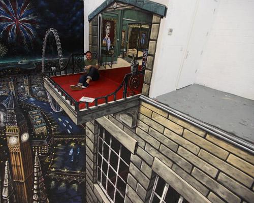 """Гигантский реалистичный водопад на лондонском асфальте от """"3D Joe and Max"""" и """"Reebok"""""""