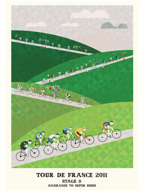 Серия графических плакатов Тур де Франс 2011