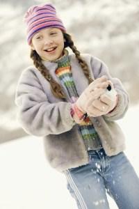 Girl Packing Snowball - Homemade Snow Cream - Alldonemonkey.com