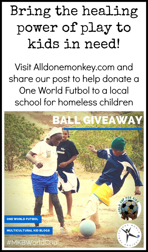 MKB One World Futbol World Cup Giveaway - Visit Alldonemonkey.com and share our post to help us donate a virtually indestructible One World Futbol to a local school for homeless children