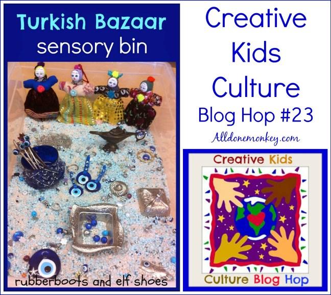 Creative Kids Culture Blog Hop #23 - Turkish Bazaar Sensory Bin | Alldonemonkey.com