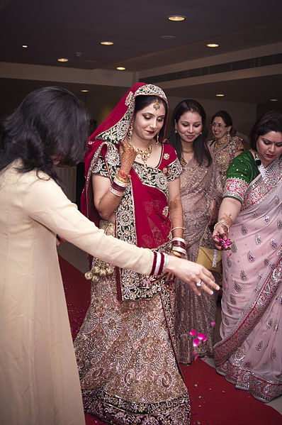 Bride entering the hall for Indian Hindu wedding