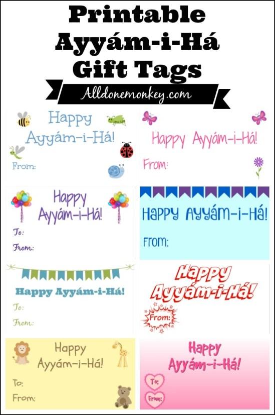Printable Ayyam-i-Ha gift tags for the Baha'i holiday Ayyam-i-Ha