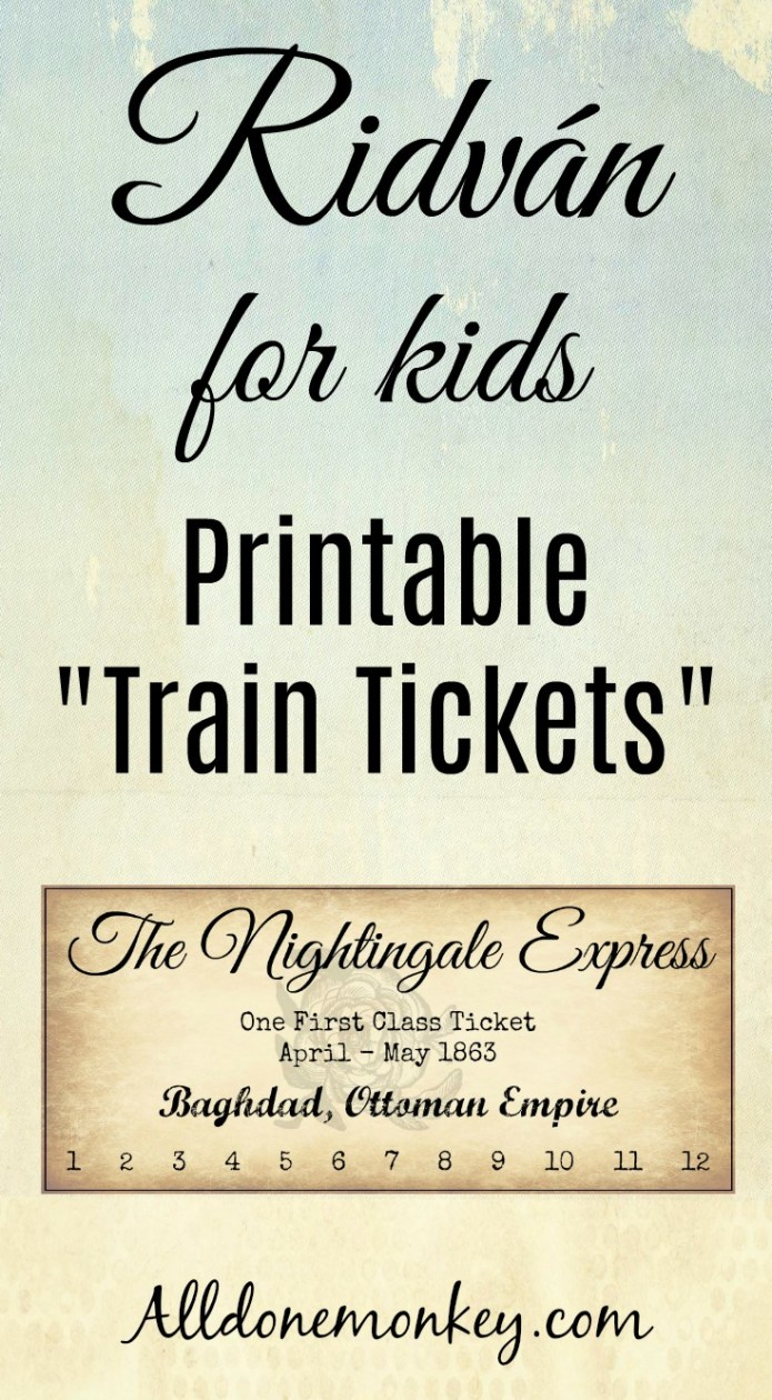 Ridvan Printable Train Tickets for Kids | Alldonemonkey.com
