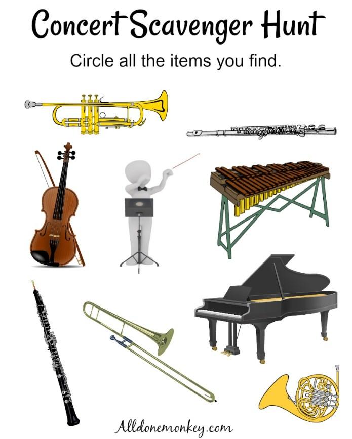 Music Appreciation: Concert Scavenger Hunt | Alldonemonkey.com