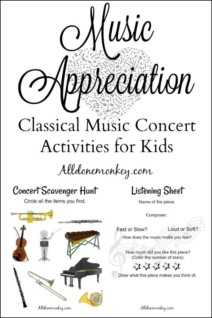 Music Appreciation: Classical Music Concert Activities for Kids | Alldonemonkey.com