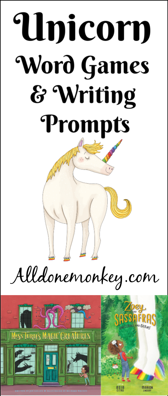 Unicorn Word Games and Writing Prompts with Printable | Alldonemonkey.com