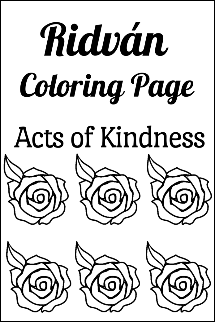 Ridvan Coloring Page: Acts of Kindness | Alldonemonkey.com
