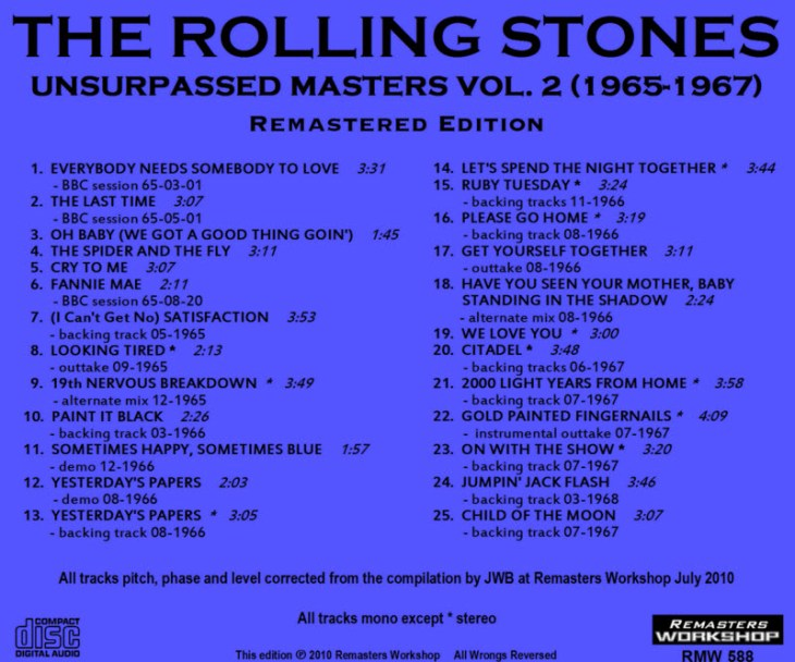 The Rolling Stones - Unsurpassed Masters Vol.2 back