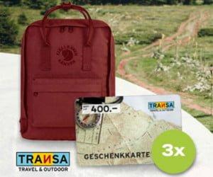 CHF 400.- Transa-Geschenkkarte sowie einen Fjällräven-Rucksack gewinnen