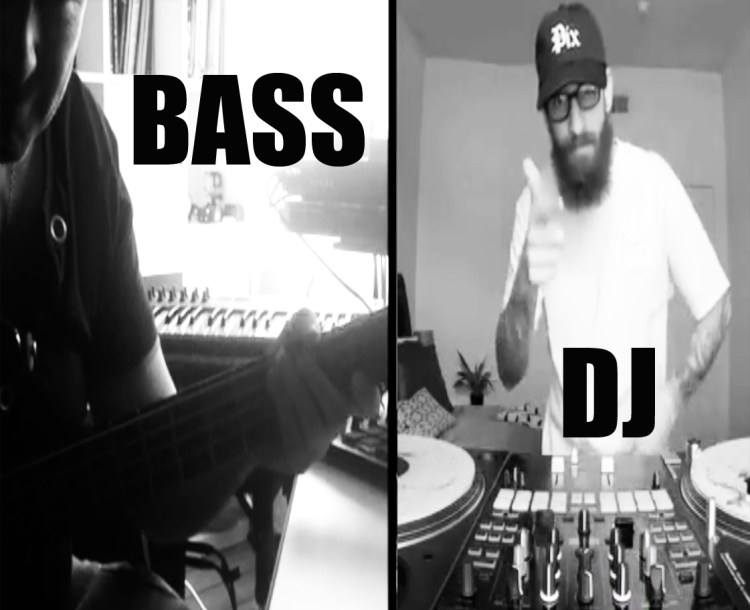 """Der hamburger Bassist David Alleckna spielt Bass über einem Mix des amerikanischen DJs """"DJADMC"""". Hiphop und schwere Grooves auf Bassgitarre und Turntables."""