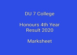 DU 7 College Honours 4th Year Result 2020 Marksheet