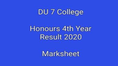 DU 7 College Honours 4th Year Result 2020 Marksheet