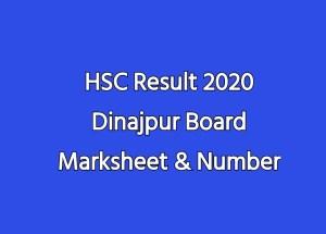 HSC Result 2020 Dinajpur Board Marksheet