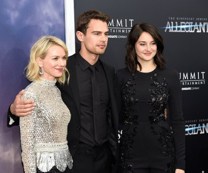 "NEW YORK, NY - MARCH 14: Naomi Watts, Theo James and Shailene Woodley attend ""Allegiant"" New York premiere at AMC Loews Lincoln Square 13 theater on March 14, 2016 in New York City. (Photo by Kevin Mazur/WireImage)"