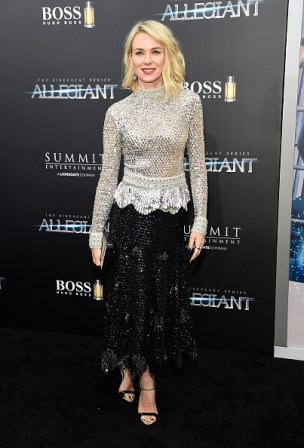 "NEW YORK, NY - MARCH 14: Naomi Watts attends ""Allegiant"" New York premiere at AMC Loews Lincoln Square 13 theater on March 14, 2016 in New York City. (Photo by Kevin Mazur/WireImage)"