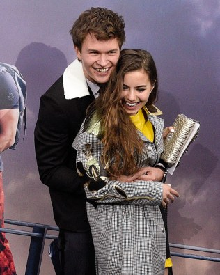 "NEW YORK, NY - MARCH 14: Violetta Komyshan and Ansel Elgort kiss and embrace at the ""Allegiant"" premiere at AMC Loews Lincoln Square 13 theater on March 14, 2016 in New York City. (Photo by Taylor Hill/FilmMagic)"