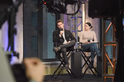 """NEW YORK, NY - MARCH 14: Actors Theo James and Shailene Woodley attend a discussion of the film """" Allegiant"""" during AOL BUILD Speaker series at AOL Studios In New York on March 14, 2016 in New York City. (Photo by Gary Gershoff/WireImage)"""