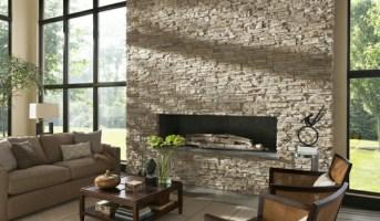 Natursteinwand im Wohnzimmer   eine attraktive ...