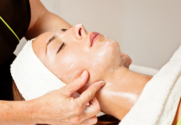 Image of a woman getting a facial service