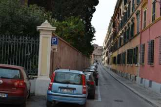 Looking down the street to the right of the main gate to the Pontificio Collegio Irlandese.