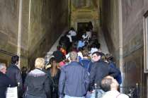 Pilgrims ascend the 'Scala Sancta' or 'Holy Stairs' on their knees honoring the Passion of Jesus