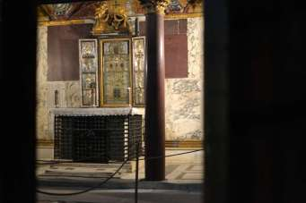 The stairs lead to 'Sancta Sanctorum' or Holy of Holies, the personal chapel of the early Popes