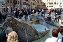 The Fontana della Barcaccia (Fountain of the Old Boat) is a Baroque fresh-water fountain in the Piazza di Spagna at the foot of the Spanish Steps.
