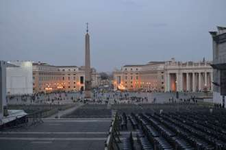 Looking out onto Saint Peter's Square as we leave the Basilica at the end of the day.