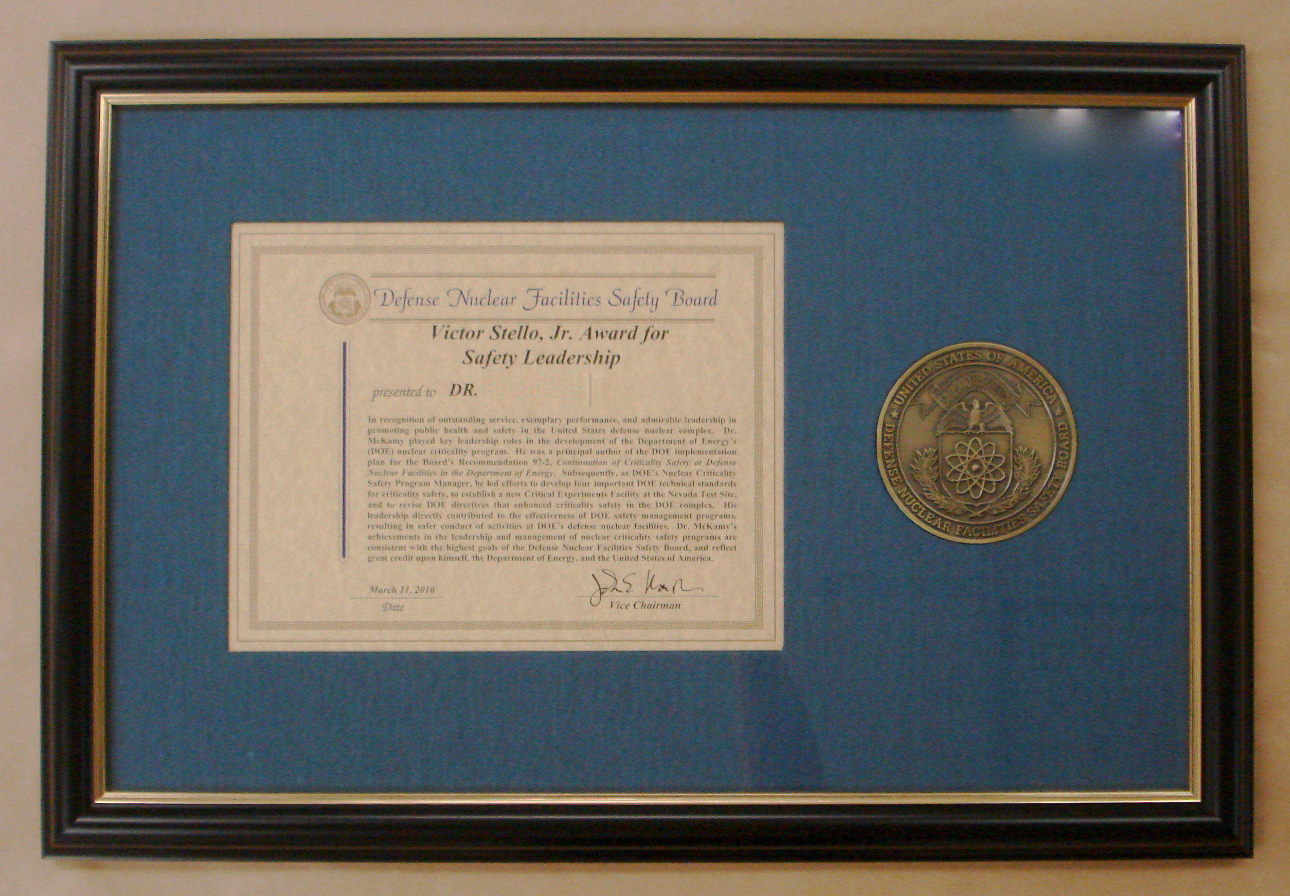Awards allen custom frame award with medal in blue fabric mat black and gold frame 16 x 24 jeuxipadfo Image collections