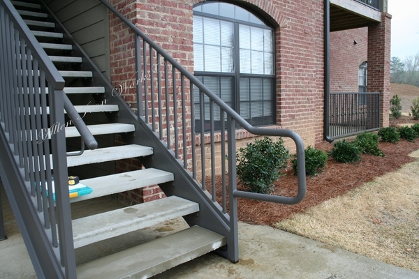 Straight Metal Stairs Birmingham Al Allen Iron Works Birmingham Al | Steel And Concrete Stairs | Welding | Smooth | Cantilevered | Industrial | Cement