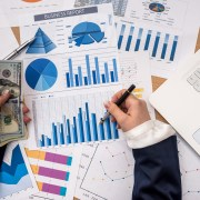 Financial Analysis Control Tool Image of data charts and money