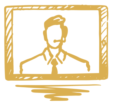crisis communication illustration of man talking on computer screen.