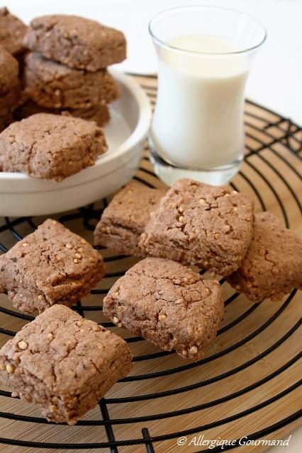 sablés chocolat quinoa soufflé sans gluten sans lait sans œufs