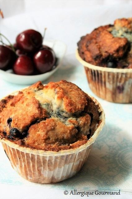 Muffins myrtilles coco Bio sans gluten sans œufs