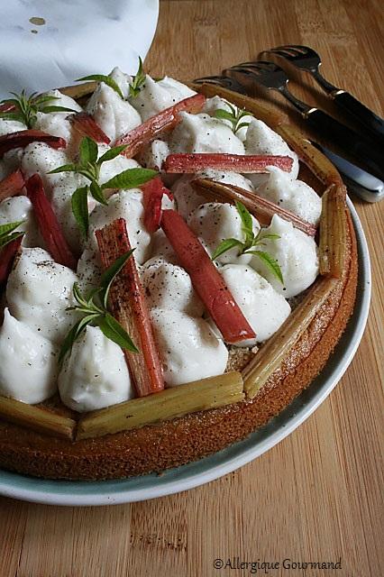 Gâteau à la crème verveine coco et rhubarbe sans gluten sans lait sans œufs