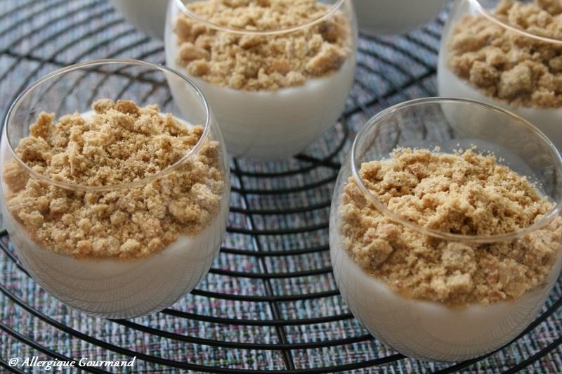 Crème coco sans gluten, œufs et lait