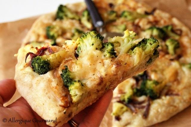 pizza crème brocolis sans gluten sans oeufs