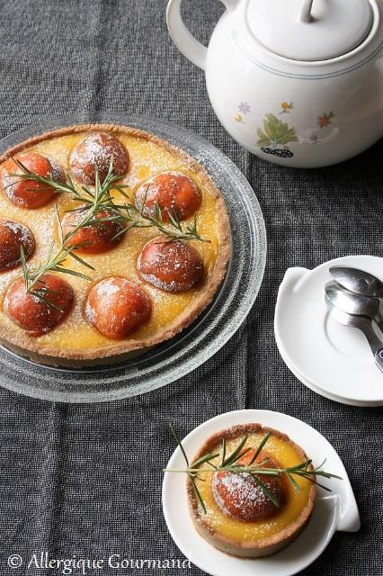 tarte au curd de melon romarin abricots sans gluten sans lait sans oeufs