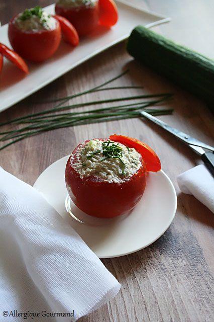 tomates farcies crème de tournesol concombre sans gluten sans lait sans oeufs