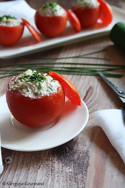 tomates farcies à la crème tournesol concombre sans gluten sans lait sans oeufs